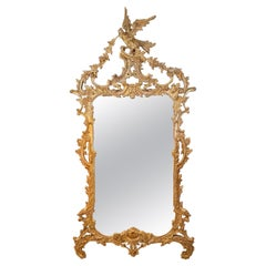 Chippendale Style Carved Chinoiserie Giltwood Mirror