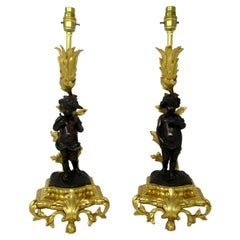 Antique Pair French Gilt Bronze Dore Ormolu Clodion Grand Tour Table Lamps 19 Ct
