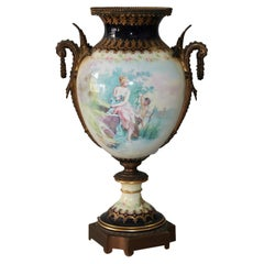 Large Antique French Atttr Sevres Hand Painted Porcelain & Ormolu Urn 19th C