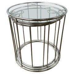 DIA Design Institute  America Chrome and Glass Nesting Tables