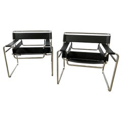 Pair Black Leather Wassily Chairs