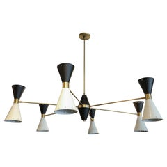 Custom Mid-Century Style Brass, Black & White Metal Chandelier by Adesso Imports