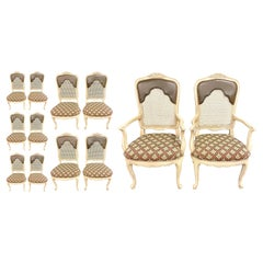 Set of 14 Louis XV Style Pickled Distress Dining Chairs