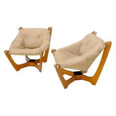 Pair of Mid Century Danish Modern Teak Frames Leather Sling Seat Lounge Chairs