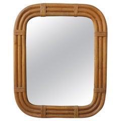 1960s Italian Bamboo Wall Mirror by Raymor.