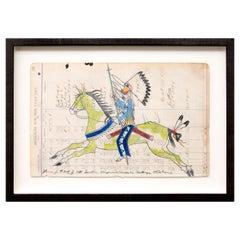 Cheyenne Warrior on Horseback, Traditional Ledger Drawing by James Black, 2020