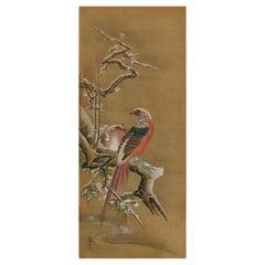19th Century Japanese Silk Painting by Kano Chikanobu, Pheasants & Plum in Snow