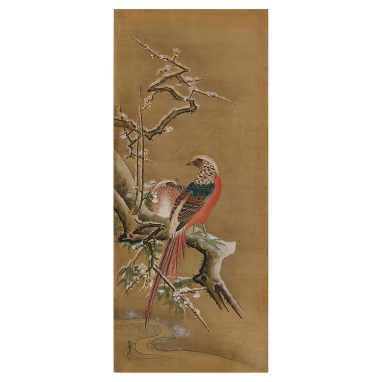 19th Century Japanese Silk Painting by Kano Chikanobu, Pheasants & Plum in Snow For Sale
