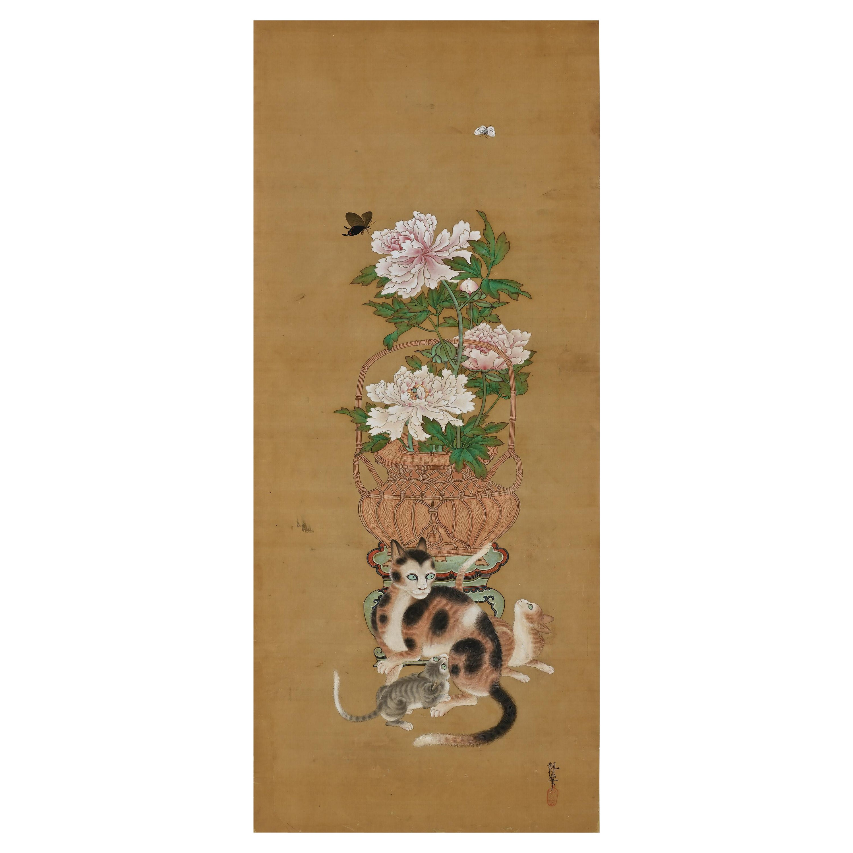19th Century Japanese Silk Painting by Kano Chikanobu, Peony, Cats & Butterflies