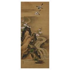 19th Century Japanese Silk Painting by Kano Chikanobu, Turtles & Azalea