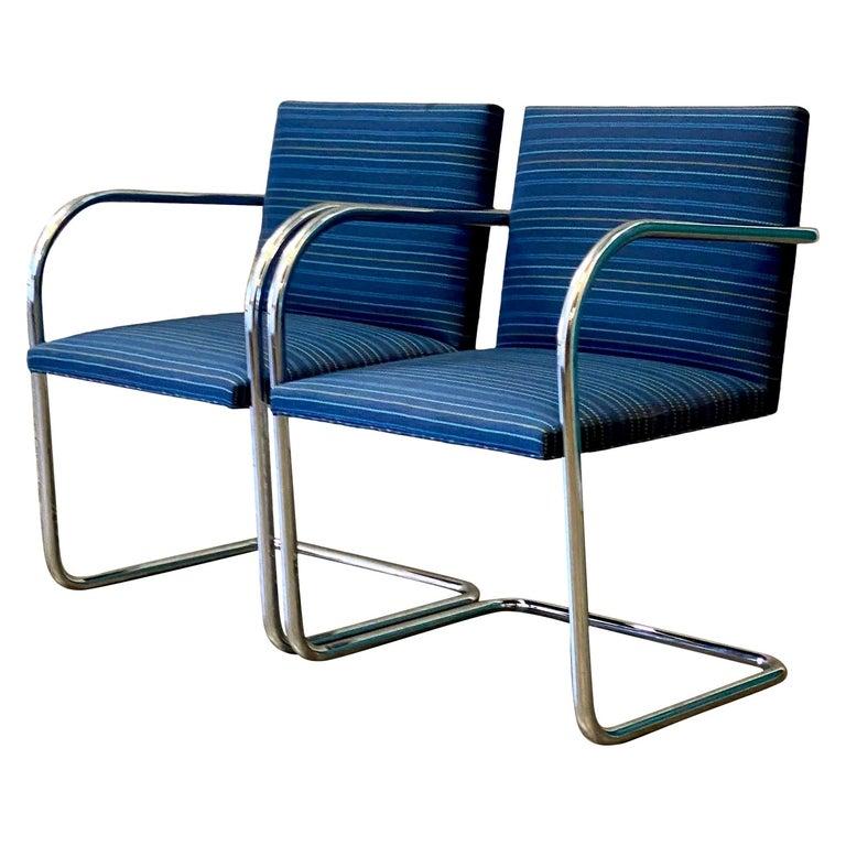 Vintage Midcentury Knoll Tubular BRNO Chairs, a Pair For Sale