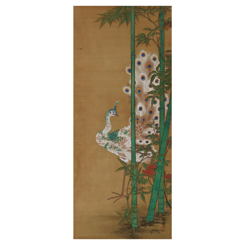 19th Century Japanese Silk Painting by Kano Chikanobu, Peacock & Bamboo