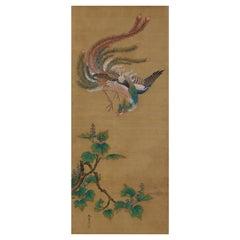 19th Century Japanese Silk Painting by Kano Chikanobu, Phoenix & Paulownia