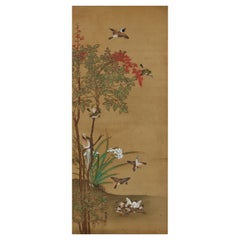 19th Century Japanese Silk Painting by Kano Chikanobu, Sparrows & Nandina