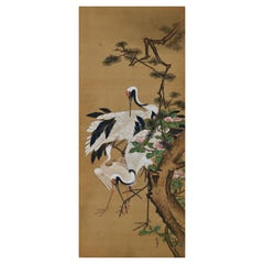 19th Century Japanese Silk Painting by Kano Chikanobu, Crane, Pine & Camelia