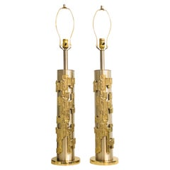 Pair of Sculptural Table Lamps Brushed Nickel and Brass by Laurel