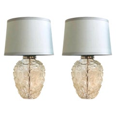 Pair of Heavy Organic Art Glass Lamps by Vaughan