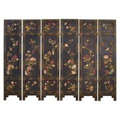 Chinese Export Six Panel Soapstone Flora and Fauna Coromandel Screen