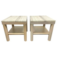 Pair Cerused Oak and Travertine Top Side Tables