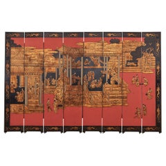 Chinese Export Eight Panel Coromandel Screen Gilt Imperial Palace