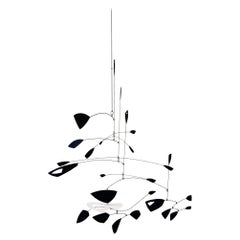 Large Black and White Kinetic Mobile Sculpture by Robert Delaney