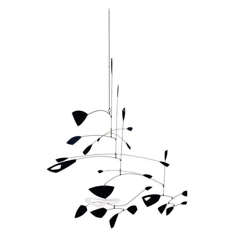 Large Black and White Kinetic Mobile Sculpture by Robert Delaney For Sale