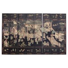 Gracie Studio Ming Style Lacquered Eight Panel Coromandel Screen
