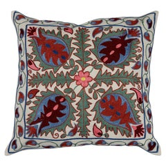 Uzbek Suzani Pillow Case, Embroidered Cotton & Silk Cushion Cover