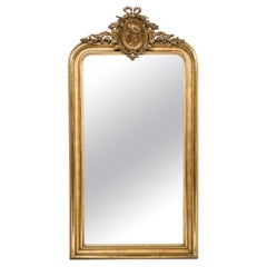 Antique Late 19th-century Gold Louis Philippe Mirror with Medaillon Crest