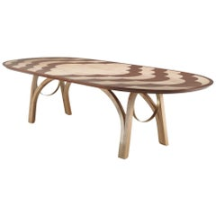 Archway Dining Table in Solid Wood with Flowers Inlays