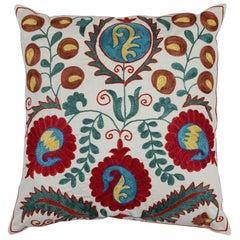 Decorative Suzani Pillow Case, Embroidered Cotton, Silk Cushion Cover