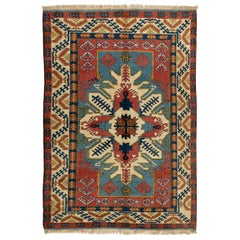 New Hand-Knotted Turkish Wool Rug, Geometric Design, Soft Medium Pile