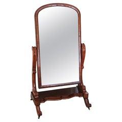 Antique Victorian 19th Century Mahogany Cheval Mirror