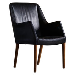 Danish Modern Armchair by Nanna Ditzel in Oak and Patinated Leather, 1950s