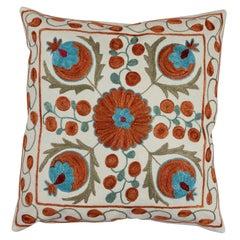 New Uzbek Suzani Pillow Case Embroidered Cotton & Silk Cushion Cover