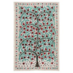 Pomegranate Tree Design Suzani Textile, Embroidered Silk Wall Hanging