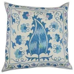 Asian Suzani Pillow Case, Embroidered Cotton & Silk Cushion Cover