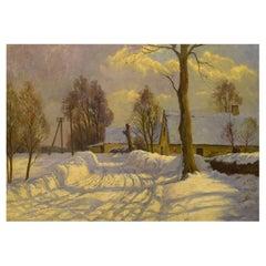 Danish Painter, Oil on Canvas, Winter Landscape with Farm, 1920s / 30s