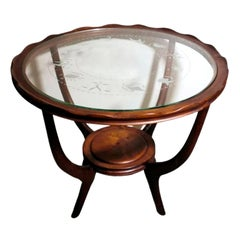 Paolo Buffa Style Coffee Table Art Deco Cherry Wood Glass Engraved Zodiac Signs