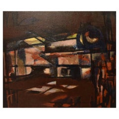 Albert Ferenz, Germany, Oil on Canvas, Abstract Composition, 1974