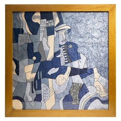 Anne De Sevil Figurative Framed Silk Scarf in the Style of Pablo Picasso, France