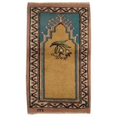 Vintage Handmade Central Anatolian Prayer Rug, Ca 1960, All Wool