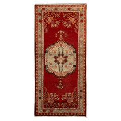 Mid-Century Handmade Central Anatolian Accent Rug in Red and Beige