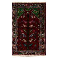 Vintage Handmade Turkish Wool Rug in Maroon, Beige, Blue & Pink Color