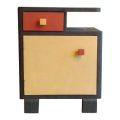 21st Century Cabinet-Sculpture Contemporary Gold-Green-Red in Wood and Resin