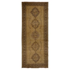 Authentic Hand-Knotted Vintage Turkish Runner Rug for Hallway Decor