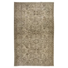 Hand-Knotted 1960's Oushak Area Rug with Floral Design in Beige Colors