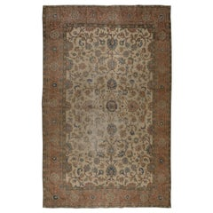 Midcentury Distressed Handmade Oushak Area Rug for Home & Office Decor