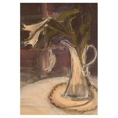 """Kerstin Jönsson, Sweden, Pastel on Paper, """"Lilies in a Jug"""""""