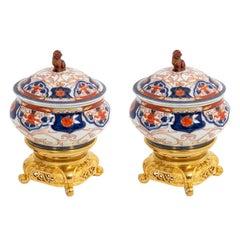 Pair of Lamps in Imari Porcelain and Gilt Bronze, circa 1880